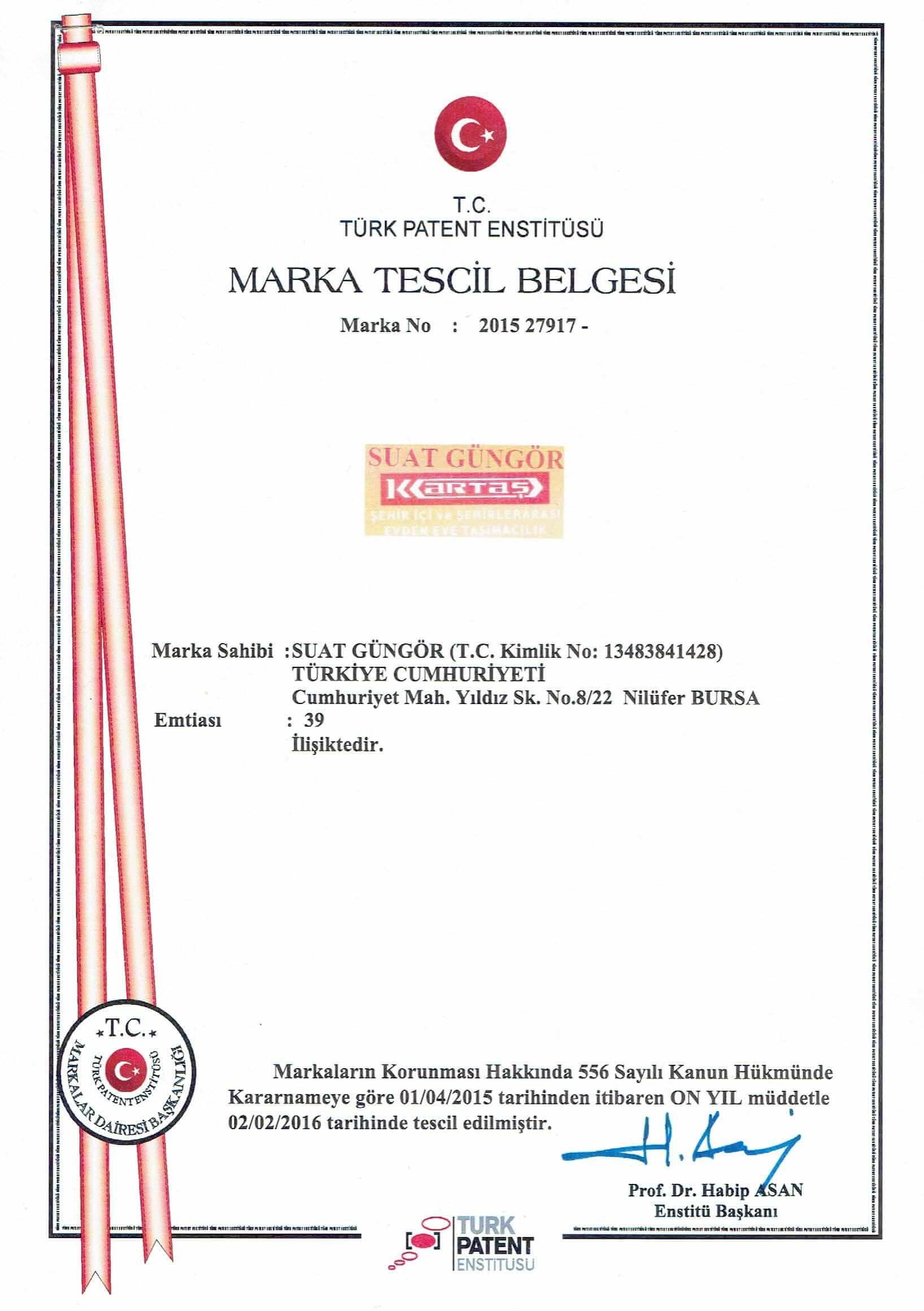 Marka Tescil Belgemiz